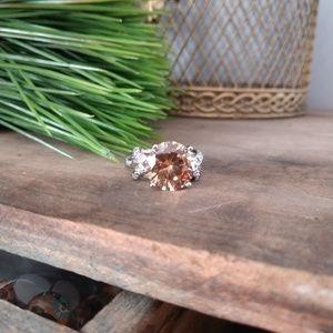 Size 10 champagne gemstone ring 925 Sterling